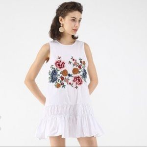 White Chicwish floral tunic dress NWT